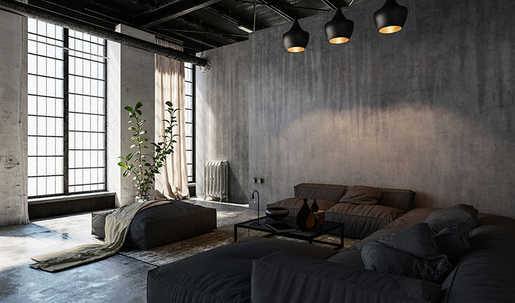 concrete walls in a living space