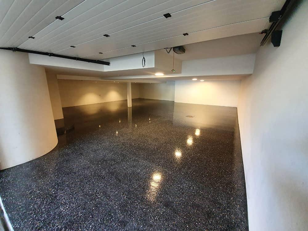 polished concrete flooring in garage
