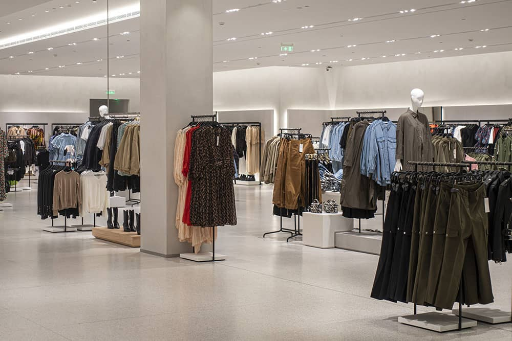 fashion store with polished concrete flooring