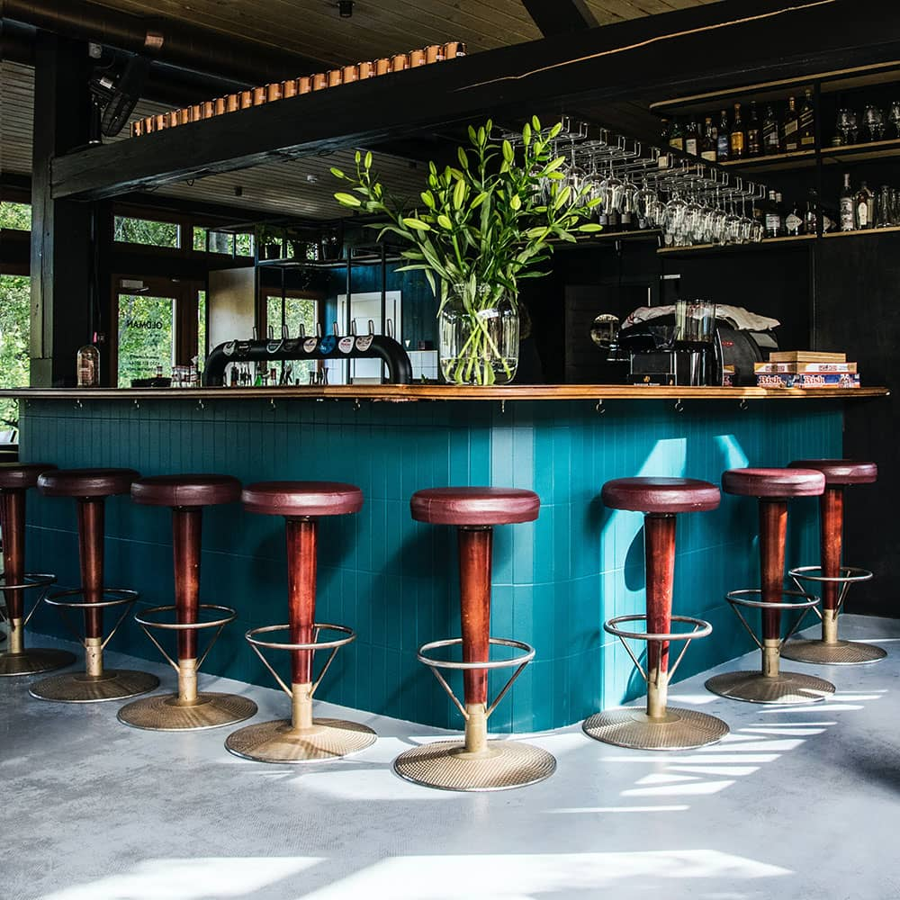 up market bar with concrete flooring